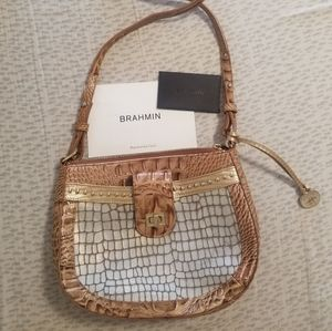 Brahmin cross body purse, light blue and blown